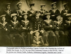 Dublin Sea Scouts join up as Volunteers in Belfast 1915 with Sub-Lieut Fortune