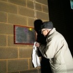 Tommy Taylor,final touches of unveiling of Centenary Plaque in Malahide