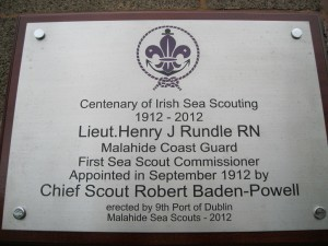 Centenary commemorative plague to the 1st Sea Scout Commissioner  Lieut Henry J Rundle ,Malahide Coast Guard 1912