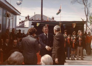 "Official opening of ""Lions Den"" May 1975 by Mr.Eamonn Andrews"