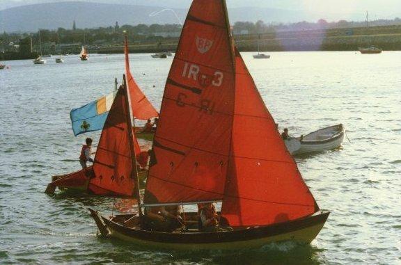 Launching Lan-Mara ,Sea Scout Standard boat - BP18,at the Sea Wall Malahide  in 1980.